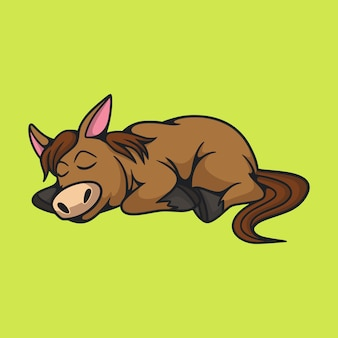 Cartoon sleeping horse isolated on green