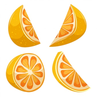 Cartoon slice of lemon set
