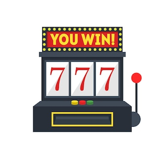 Cartoon slot machine with one arm gambling. vector illustration