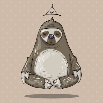 Cartoon sloth meditates. cartoon illustration in comic trendy style.