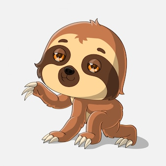 Cartoon sloth waving, hand drawn