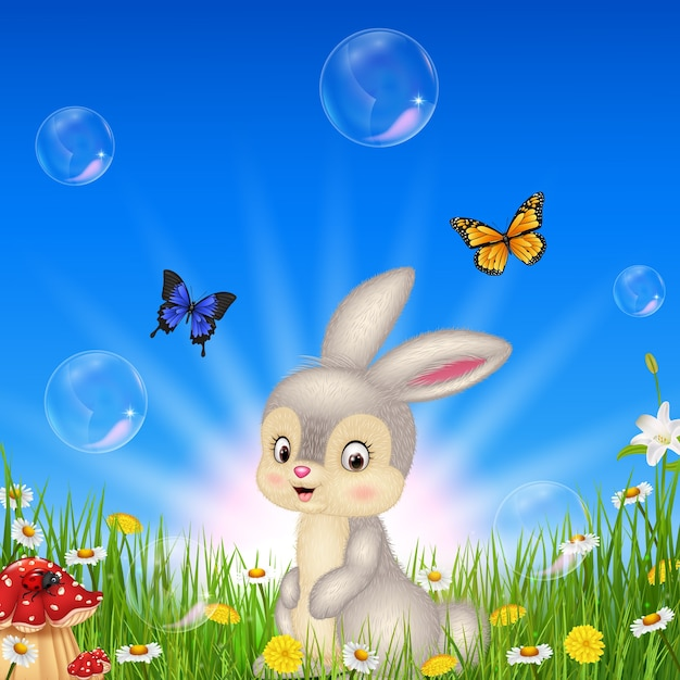 Cartoon small rabbit with nature background