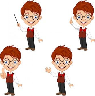 Cartoon smart boy in different poses