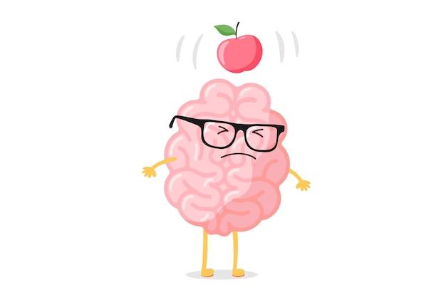 안경과 사과가 과학적 발견 아이디어 개념을 이끌기 위해 새벽에 떨어지는 만화 똑똑한 인간 두뇌 캐릭터. 재미 있는 평면 벡터 일러스트 레이 션