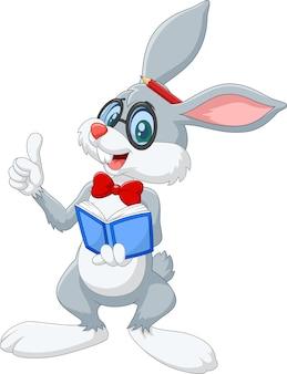 漫画スマートウサギ思考は、白い背景に