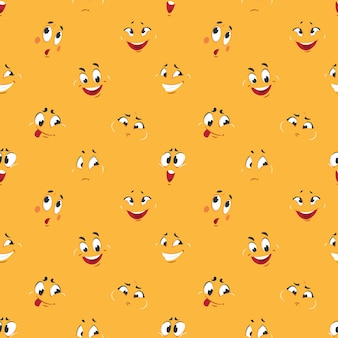 Cartoon smiley pattern. funny crazy faces happy cute smile caricature fun comic expressions cartoons face seamless