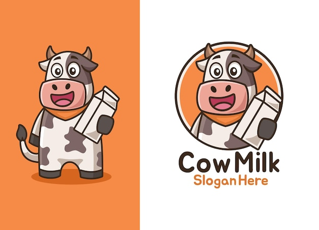 Cartoon smiling cow with milk logo design