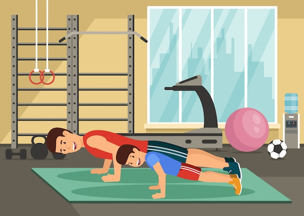 Cartoon smiling dad and son push up in gym.