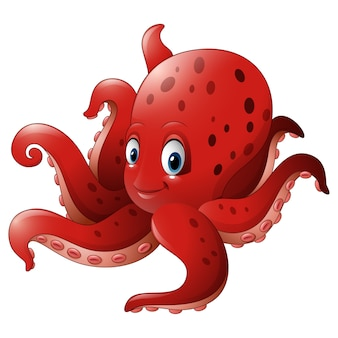 Cartoon smiling octopus