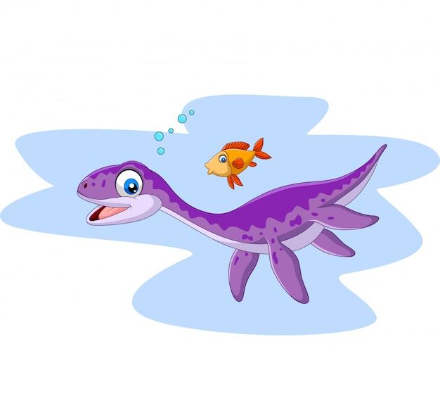 Мультяшный улыбающийся плезиозавр и рыба