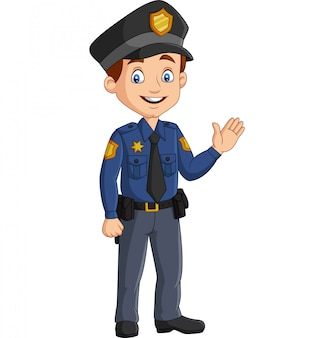 Cartoon smiling policeman waving hand