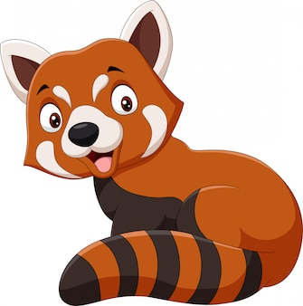 Cartoon smiling red panda on white background