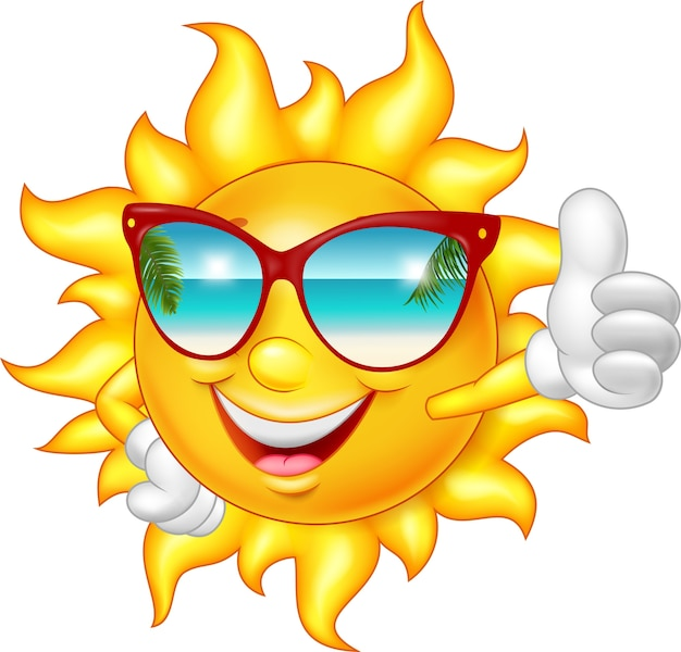 Cartoon smiling sun giving thumb up
