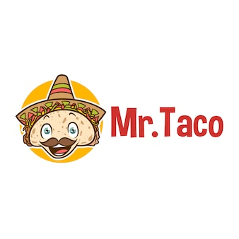 Cartoon smiling taco mascot logo