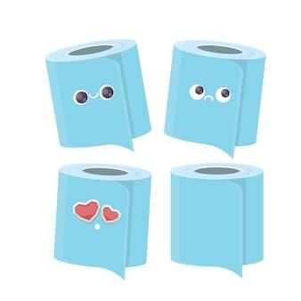 Мультфильм, улыбаясь набор символов туалетной бумаги