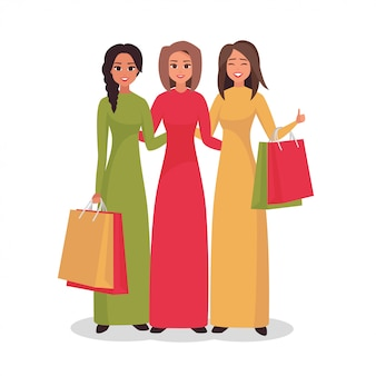Cartoon smiling women character with shopping bags.