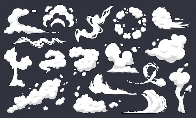 Cartoon smoke clouds. comic smoke flows, dust, smog and smoke steaming cloud silhouettes   illustration set. wind silhouette steaming, smoke explosion, comic cloud collection