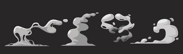 Мультяшные дымовые облака, белый аромат или токсичный дымящийся пар, пыль, пар. элементы дизайна, поток тумана или дымный химический пар, изолированные на черном фоне. comic boom steaming effect. набор векторных иконок