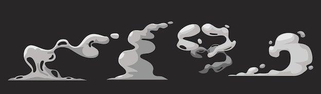 Cartoon smoke clouds, white aroma or toxic steaming vapour, dust steam. design elements, flow mist or smoky chemical steam isolated on black background. comic boom steaming effect. vector icons set