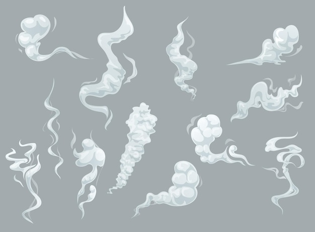 Cartoon smoke and fog clouds, white aroma or toxic steaming vapour, dust steam.