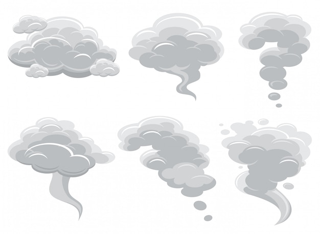 Cartoon smoking clouds and comic cumulus cloud vector collection
