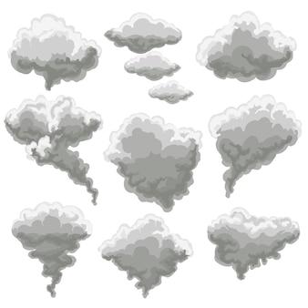 Cartoon smoking fog clouds