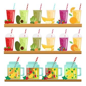 Cartoon smoothies. orange, strawberry, berry, banana and avocado