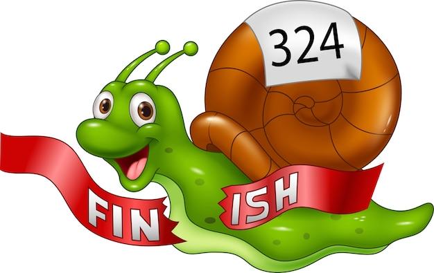 만화 달팽이 승자 결승선을 혼자 교차