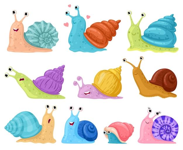 만화 달팽이입니다. 정원 달팽이 마스코트, 다채로운 달팽이 껍질 만화 벡터 일러스트레이션 세트에 있는 작은 복족류. 귀여운 연체 동물 캐릭터. 달팽이 캐릭터 마스코트 격리, 색 껍질로 크롤링 프리미엄 벡터