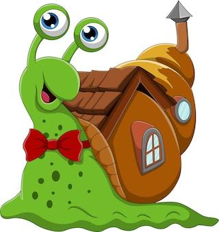 Cartoon snail wit h shell house