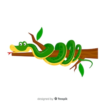 Cartoon snake wounded on branch background