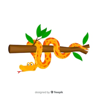 Cartoon snake wounded on a branch background