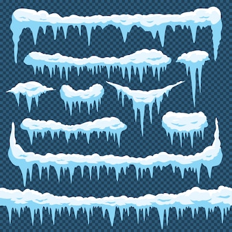Cartoon snow icicles set