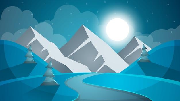 漫画の雪の風景