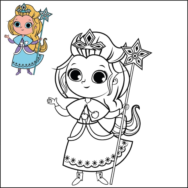 Cartoon snow princess character for coloring page activity vector illustration