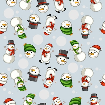 Cartoon snow puppet seamless pattern