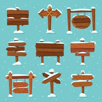 Cartoon snowed signpost