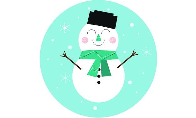 Мультяшный снеговик, жизнерадостный персонаж для рождественской открытки