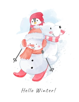 Cartoon snowman and polar bear sking illustration
