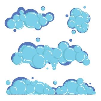 Cartoon soap foam set with bubbles. light blue suds of bath, shampoo, shaving, mousse.