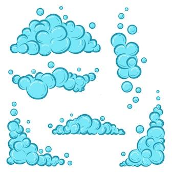 거품이 있는 만화 비누 거품. 목욕, 샴푸, 면도, 무스의 밝은 파란색 비눗물.