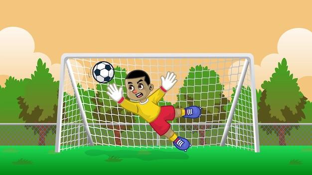 Мультяшный футбольный вратарь на футбольном поле