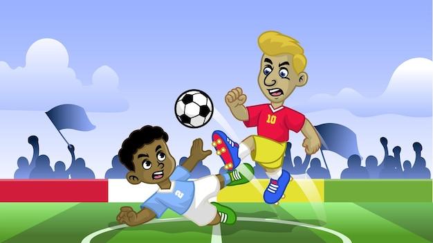 フィールドでサッカーゲームをしている漫画のサッカーの子供たち