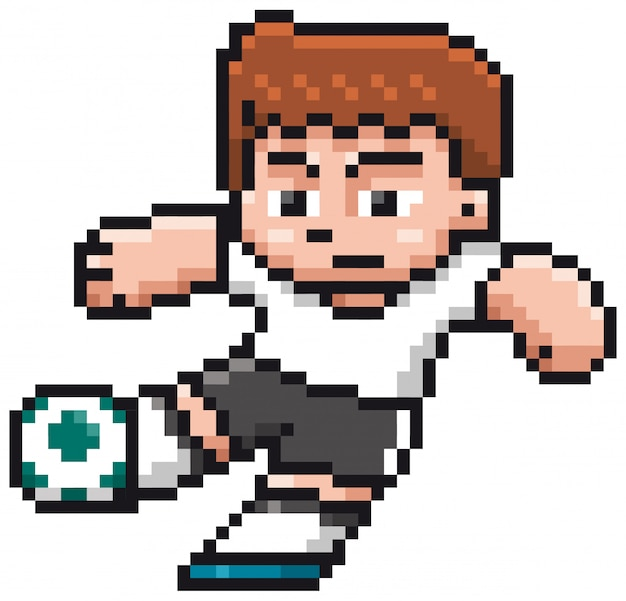 Мультфильм футболист - пиксель дизайн