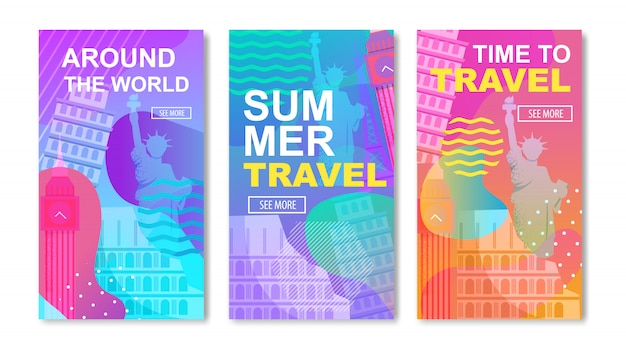 Cartoon social media template set on travel around world theme