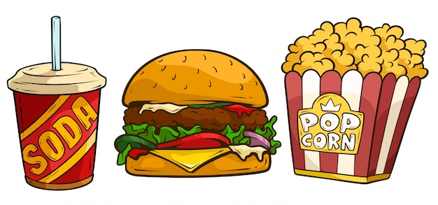 Cartoon soda drink, big hamburger and popcorn