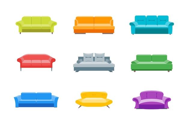 漫画のソファやソファの色のアイコンは、フラットスタイルのデザイン要素を設定します家庭やオフィスのインテリアのための快適な家具。