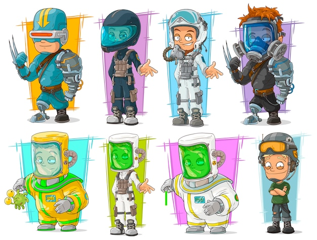 Cartoon soldier scientist with mask character set