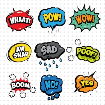 Cartoon sound effect bubble set