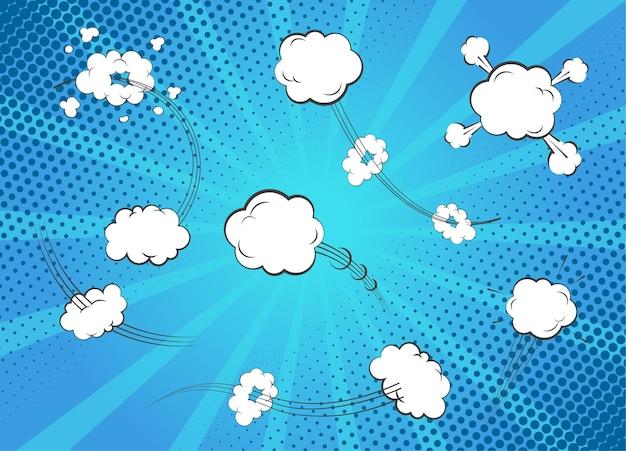 만화 음향 효과. 빈 흰색 거품 스피치와 생각의 집합입니다. 팝 아트와 블루 레이 배경에 고립 된 만화 거품 템플릿 대.